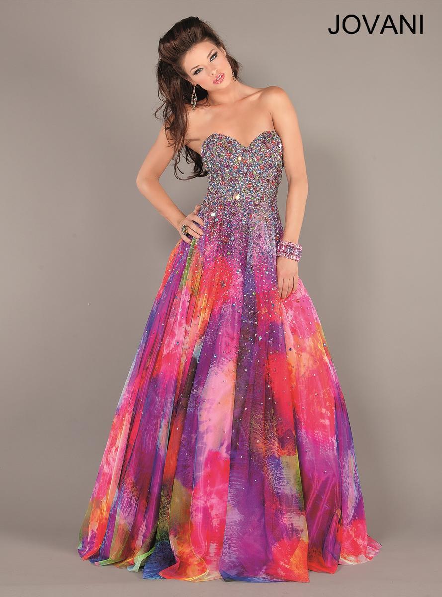 Taş İşlemeli Rengarenk 2014 Balo Elbisesi