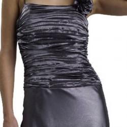 Üstü Drapeli Gri Abiye Elbise Modelleri