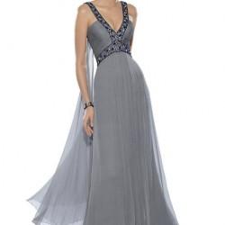 Askılı Gri Abiye Elbise Modelleri