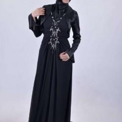 Bolerolu Siyah Tesettür Abiye Modelleri