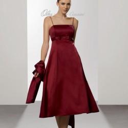 Bordo Spagetti Askılı Abiye Elbise Modası