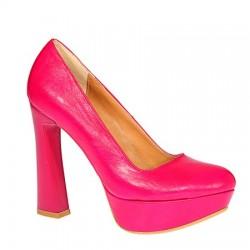 Fuşya Kalın Topuklu Ayakkabı Modelleri