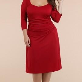 Kırmızı Orta Yaş Elbise Modelleri