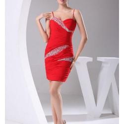 Kırmızı Spagetti Askılı Abiye Elbise Modası