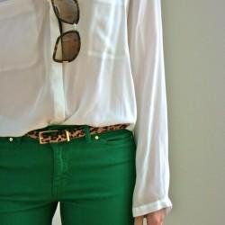 Kemerli Yeşil Pantolon Modelleri
