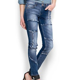 Mavi Patchwork Jean Pantolon Modelleri