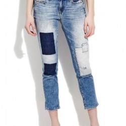 Mavi Yamalı Kot Pantolon Kombinleri