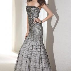Payetli Gri Abiye Elbise Modelleri