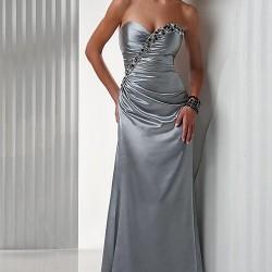 Saten Gri Abiye Elbise Modelleri
