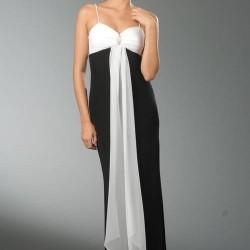 Siyah Beyaz Spagetti Askılı Abiye Elbise Modası