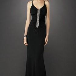 Siyah Spagetti Askılı Abiye Elbise Modası