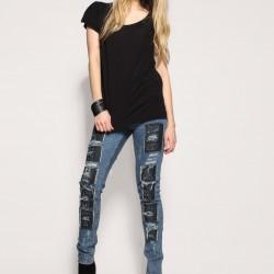 Siyah Yamalı Kot Pantolon Kombinleri