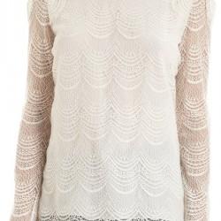 Transparan Beyaz Dantelli Bluz Modelleri