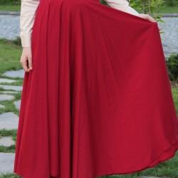 Uzun Kırmızı Kloş Etek Modelleri