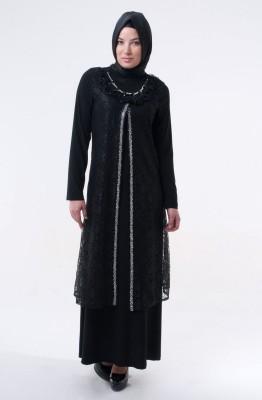 Uzun Siyah Tesettür Abiye Modelleri