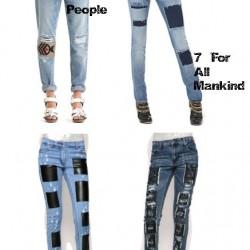 Yamalı Kot Pantolon Kombinleri