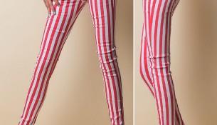 kırmızı beyaz çizgili dar kesim pantolon