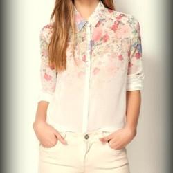 Çiçekli Yeni Şifon Gömlek Modelleri