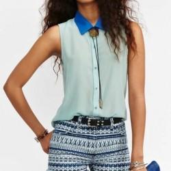 Şifon Yeni Kolsuz Bluz Modelleri