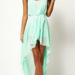 Asimetrik Kesimli Mint Yeşili Yazlık Elbise Modelleri