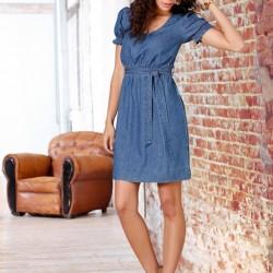 Bağlamalı Yeni Kot Elbise Modelleri