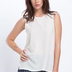 Beyaz Yeni Kolsuz Bluz Modelleri