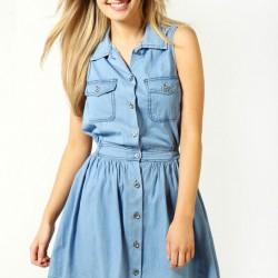 Düğmeli Yeni Kot Elbise Modelleri