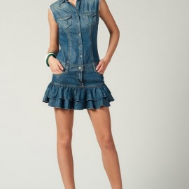 Fırfırlı Yeni Kot Elbise Modelleri