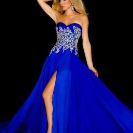 Gümüş İşlemeli Saks Mavisi Abiye Modelleri