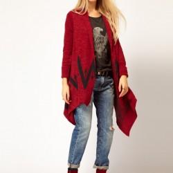 Kırmızı Yeni Uzun Hırka Modası