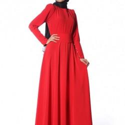 Kırmızı Yeni Yazlık Tesettür Giyim Modelleri