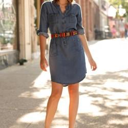 Kemerli Yeni Kot Elbise Modelleri