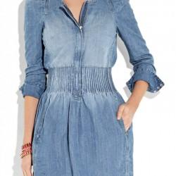 Kollu Yeni Kot Elbise Modelleri