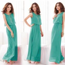 Kolsuz Mint Yeşili Yazlık Elbise Modelleri