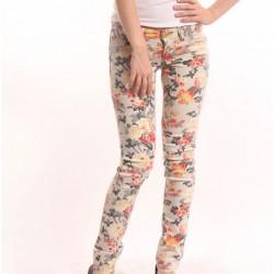 Krem Yeni Çiçekli Pantolon Modelleri