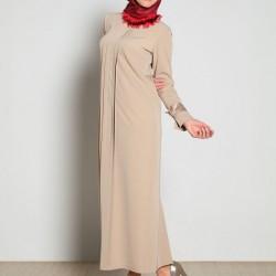 Krem Yeni Yazlık Tesettür Giyim Modelleri