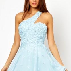 Mavi Kloş Abiye Modelleri