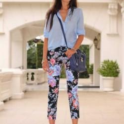 Mavi Yeni Çiçekli Pantolon Modelleri