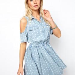 Puantiyeli Yeni Kot Elbise Modelleri