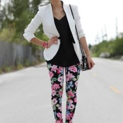 Siyah Yeni Çiçekli Pantolon Modelleri 2014