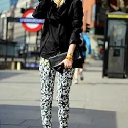 Siyah Yeni Çiçekli Pantolon Modelleri