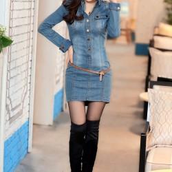 Uzun Kollu Yeni Kot Elbise Modelleri