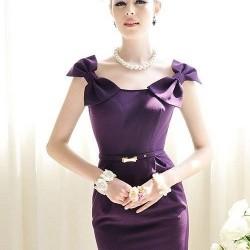 Fiyonklu Mor Yazlık Elbise Modelleri