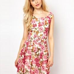 Pembe Çiçekli Elbise Modelleri