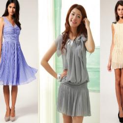 Renkli Pileli Elbise Modelleri 2014