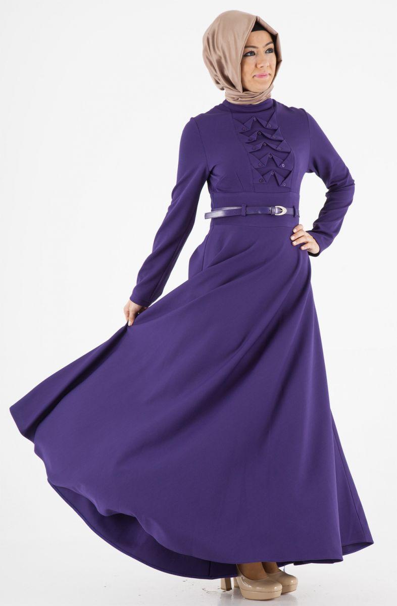 Tesettür Mor Yazlık Elbise Modelleri