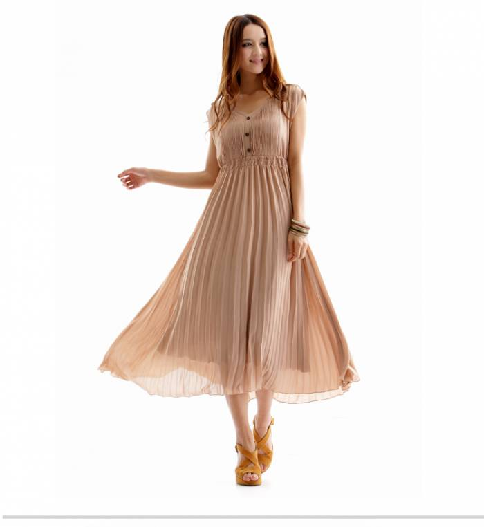 57500bf642f15 Uzun Pileli Elbise Modelleri 2014