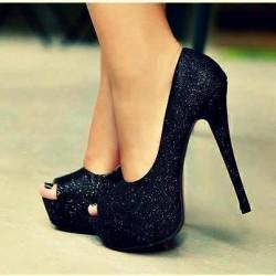 Siyah Simli Parlak Topuklu Ayakkabı Modelleri