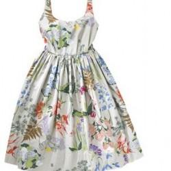 Askılı Çiçek Desenli Baskılı Elbise Modelleri