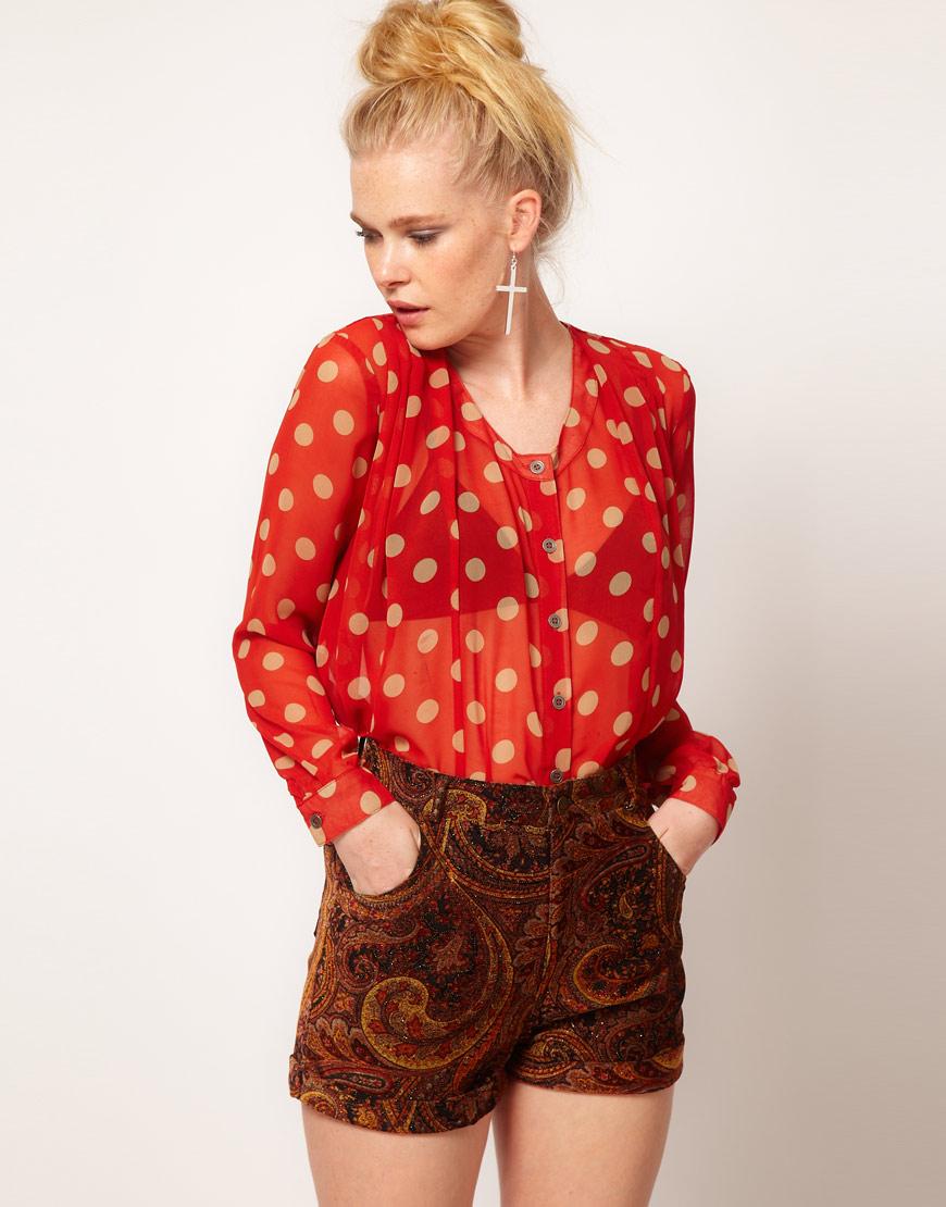 Kırmızı Şifon Bluz Modelleri